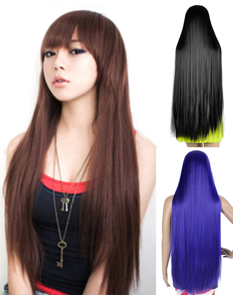 Women Long Straight Neat Bangs Cosplay Full Hair Wigs | eBay