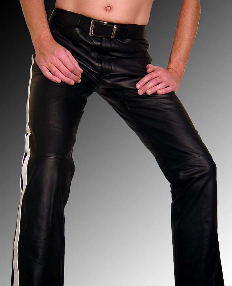 lederjeans schwarz wei lederhose neu herren m nner leder hose herren leather ebay. Black Bedroom Furniture Sets. Home Design Ideas