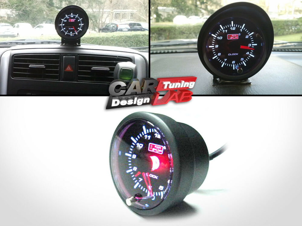 Led Auto Gauges : Mm car auto gauge meter white red led clock time ebay