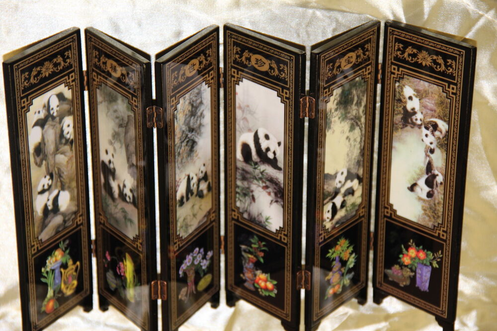 mini paravent chinois chinese folding screen spanische wand biombo paravento ebay. Black Bedroom Furniture Sets. Home Design Ideas