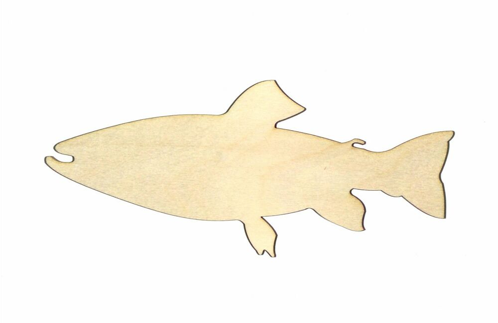 Trout fish unfinished wood shape cut out tf100 crafts for Templates for wood cutouts