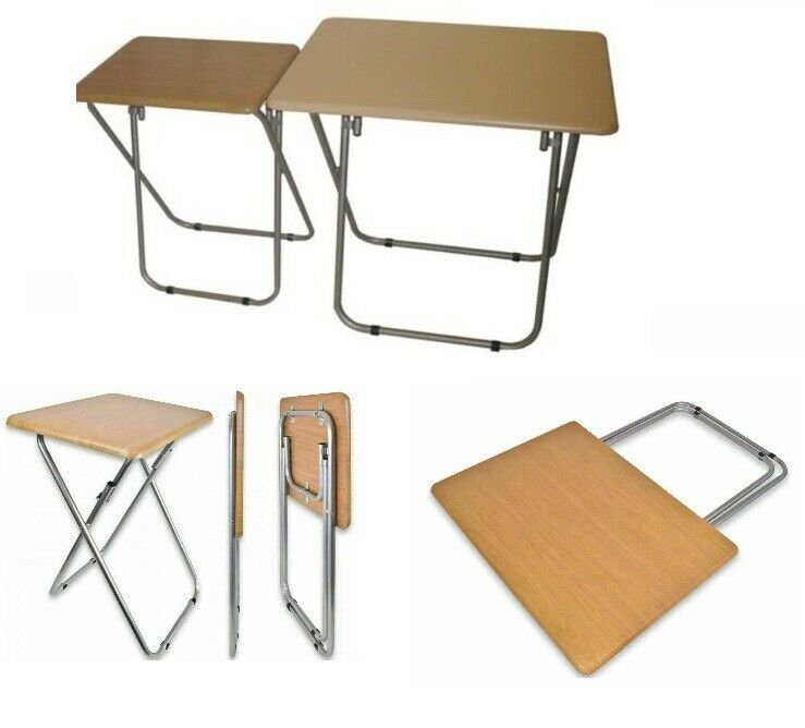 Wooden Top Metal Legs Folding Table For Tv Card Game Coffee Sofa Side Lap Top Ebay