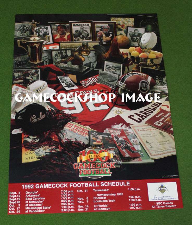 FOOTBALL 100th Gamecocks Anniversary 1992 Schedule USC