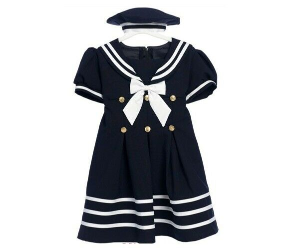 Nwt costume navy white sailor girl dress infant baby toddler summer