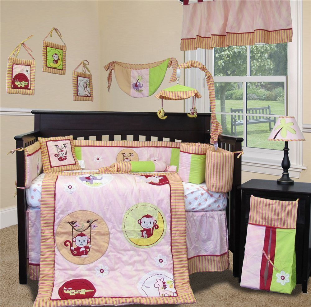 custom baby bedding jungle monkey pink 15 pcs 87340