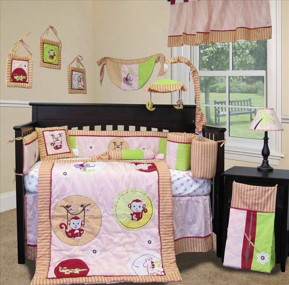 custom baby bedding jungle monkey pink 15 pcs 10146 | s l1000