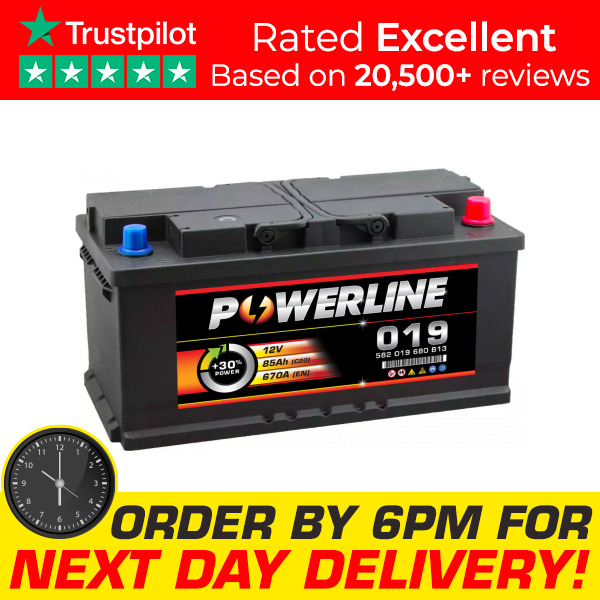 powerline 019 car van battery fits renault trafic volvo vw. Black Bedroom Furniture Sets. Home Design Ideas