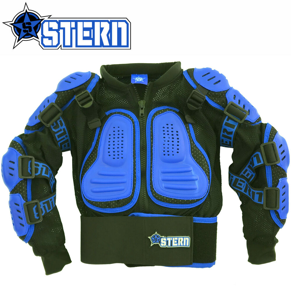 kids stern motocross body armour protection blue bionic