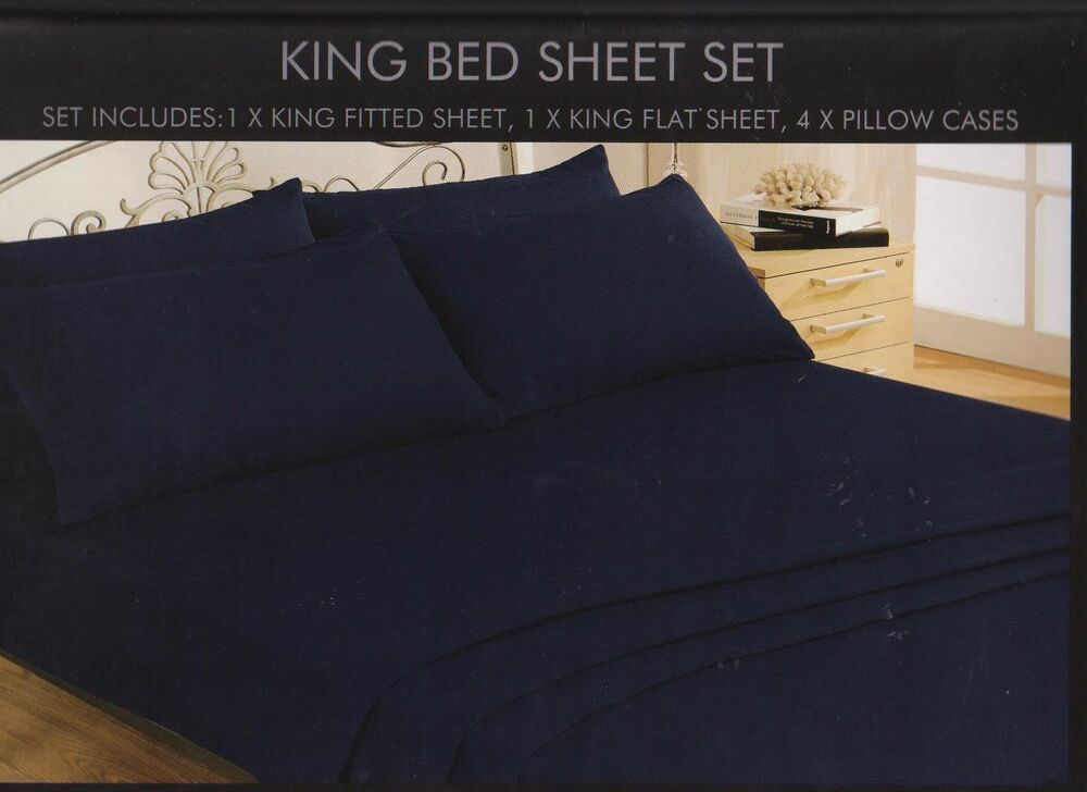 soft touch king size 6 piece fitted flat sheet sets 4 p cases in dark blue ebay. Black Bedroom Furniture Sets. Home Design Ideas