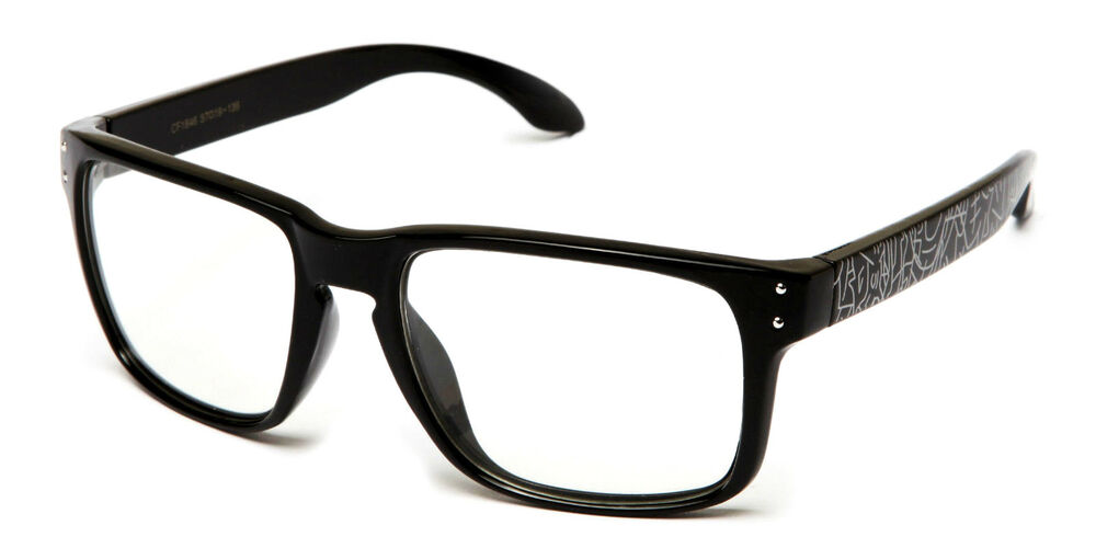 Mens Womens Clear Lens Glasses Thick Frame Rounded Lens ...