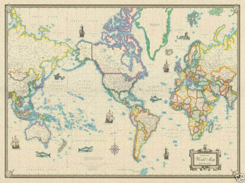 36x48 world wall map antique style large poster mural ebay. Black Bedroom Furniture Sets. Home Design Ideas