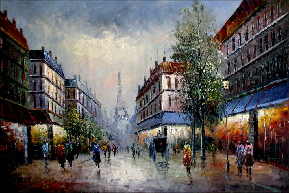 stretched old paris street with passengers hand painted oil painting 24x36in ebay. Black Bedroom Furniture Sets. Home Design Ideas