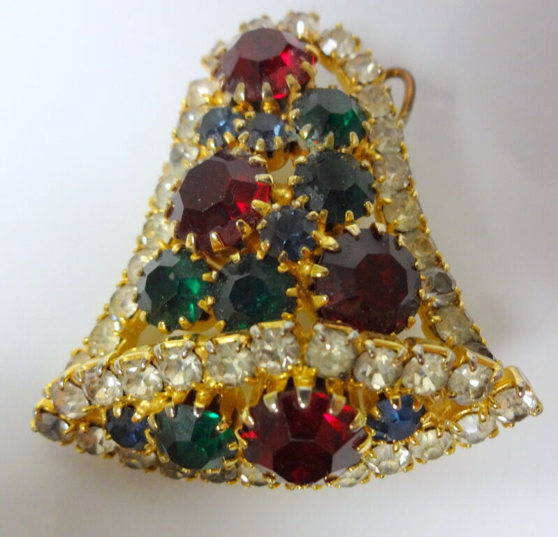 Is Monet Jewelry Real >> Vintage Rhinestone Christmas Holiday Bell Brooch Pin Pendant Sparkles   eBay