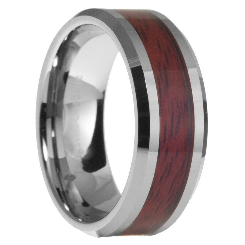 Male Wedding Bands Wood Inlay: 8mm Tungsten Carbide Mens Wood Inlay Beveled Edges Wedding