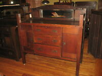 Antique Mission Oak Sideboard Buffet Arts & Crafts Come-Packt  w/Mirror 1910's