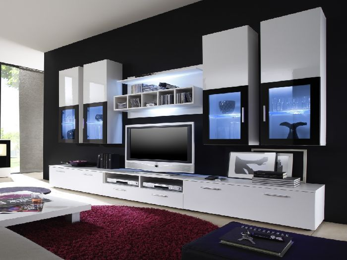top angebot wohnwand anbauwand wohnzimmer gratis licht lyra 08594 ebay. Black Bedroom Furniture Sets. Home Design Ideas