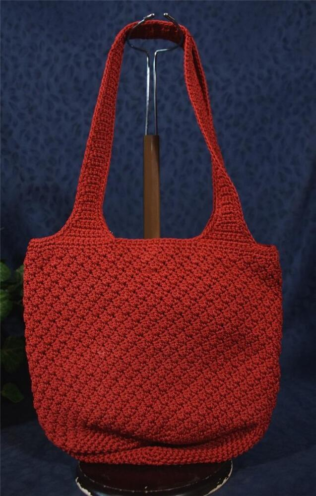 Crochet Bucket Bag : ... THE SAK Knitted Crocheted Red Fabric Bucket Shoulder Bag eBay