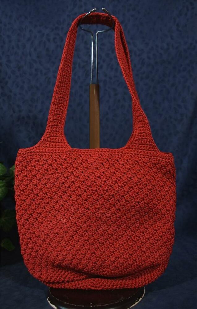 ... THE SAK Knitted Crocheted Red Fabric Bucket Shoulder Bag eBay