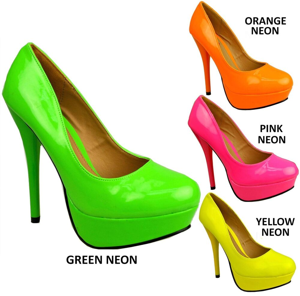 WOMENS LADIES NEON COURT SHOES - HIGH HEELS - YELLOW PINK ORANGE ...