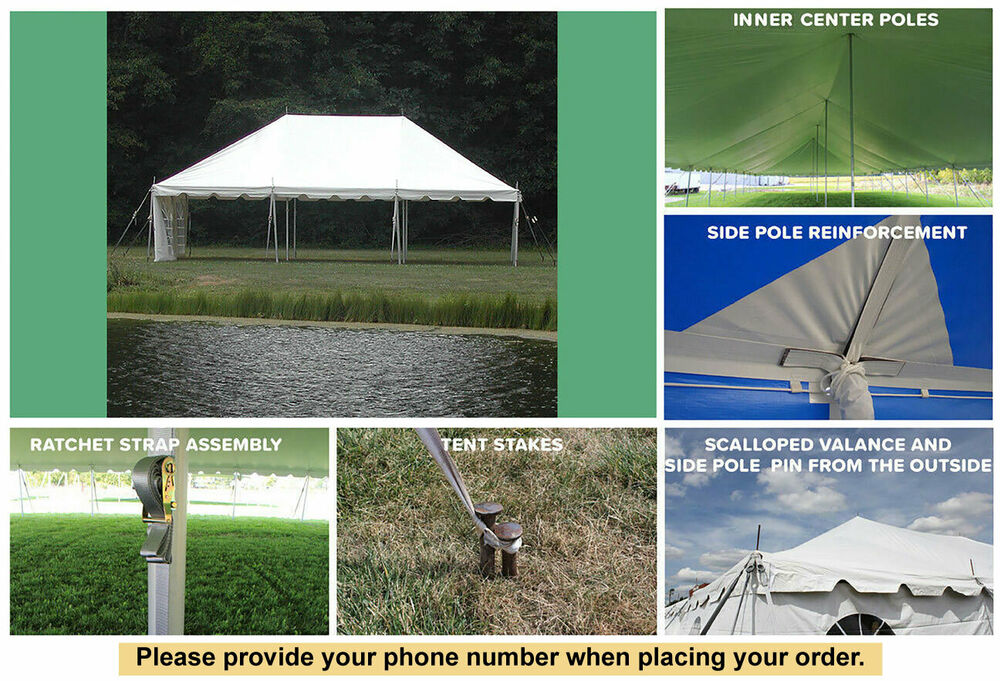 20x30 White Vinyl Classic Pole Tent For Wedding Outdoors