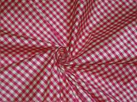 SILK Dupioni FABRIC Ivory & Pink color plaids