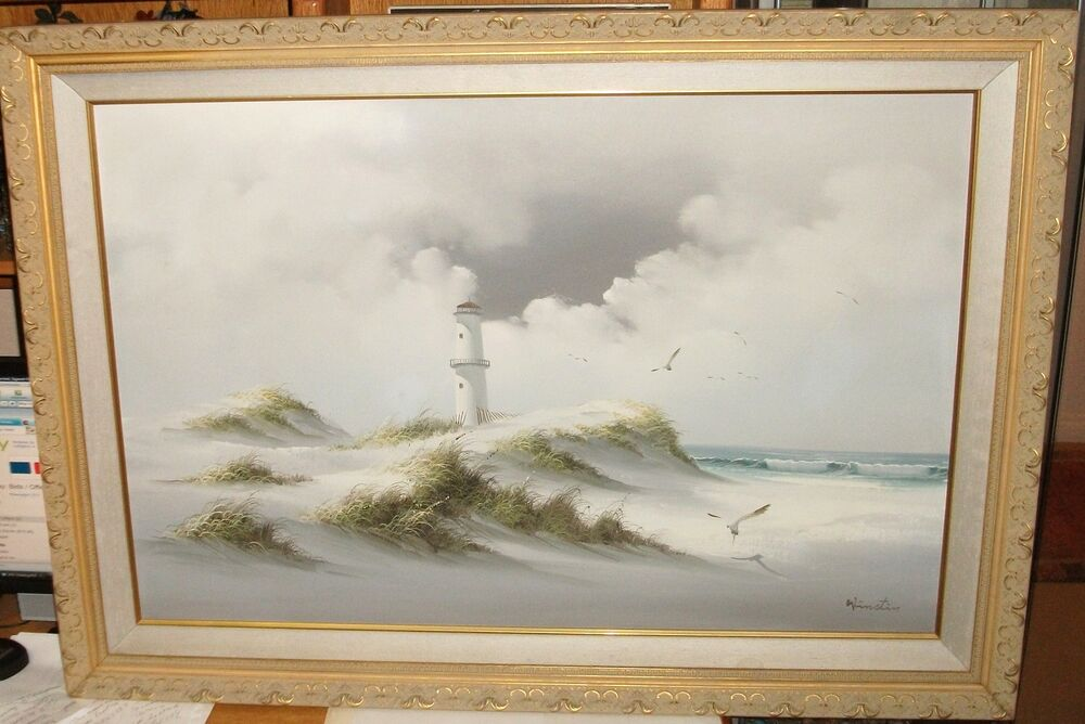 Moon Oil Paining on Canvas, Ready to Hang, Seascape Gift