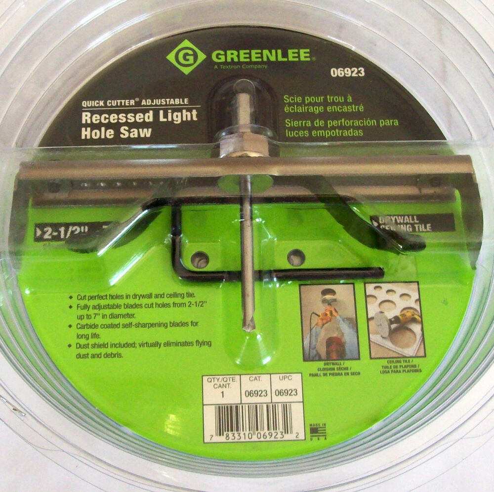 GREENLEE QUICK CUTTER ADJUSTABLE RECESSED LIGHT HOLE SAW 2 12 7