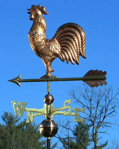 "Vintage Weather Vane: QUALITY COPPER ""ROOSTER"" WEATHERVANE W/ SOLID BRASS"