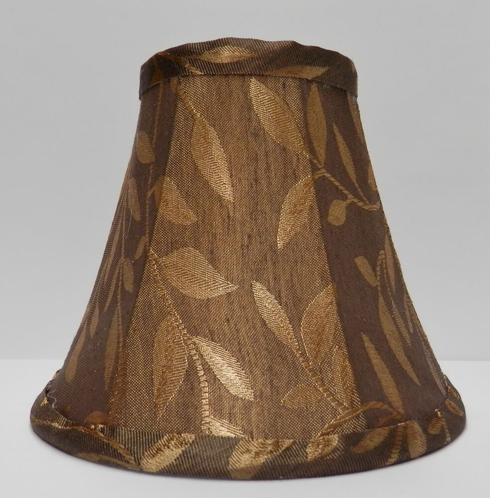 Living Room Lamp Shades: Bronze-Brown W/Gold Leaves Fabric Chandelier Lamp Shade