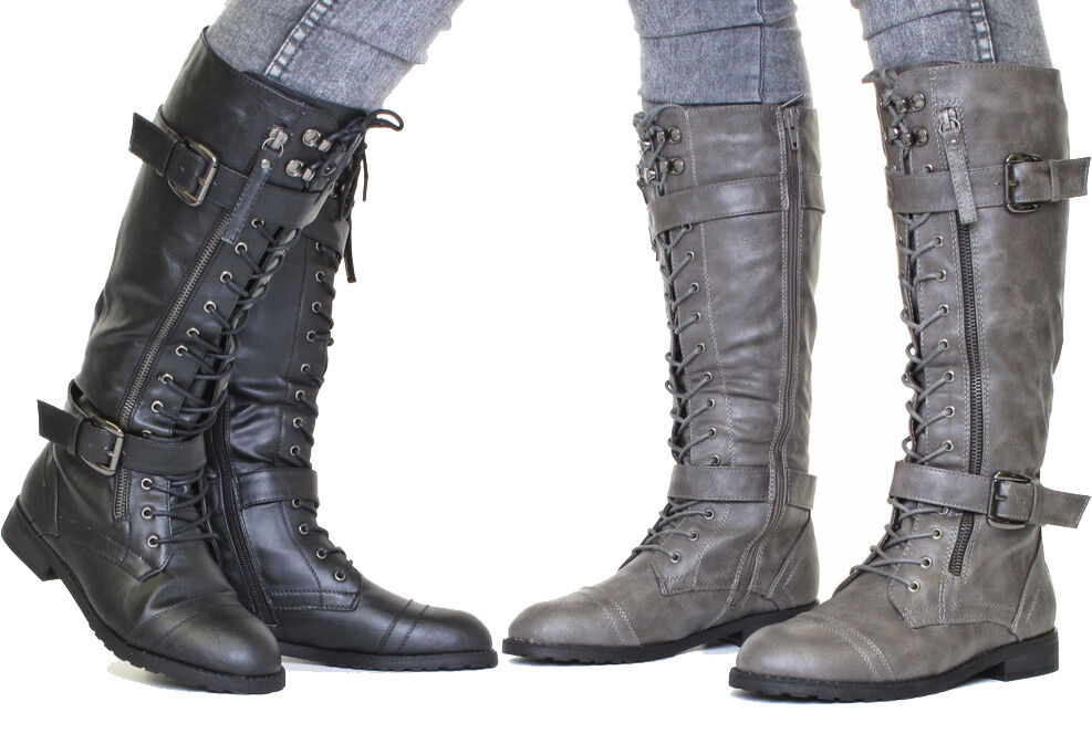 womens knee high lace up military army combat boots size 3 8 ebay. Black Bedroom Furniture Sets. Home Design Ideas
