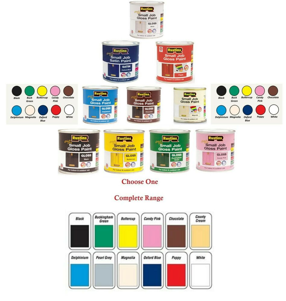 250ml Rustins Small Job Gloss Colour Paint Indoor Outdoor Use For Wood Metal Ebay