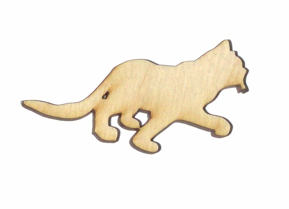 Stalking Cat Unfinished Wood Shape Cut Out CS245 Crafts