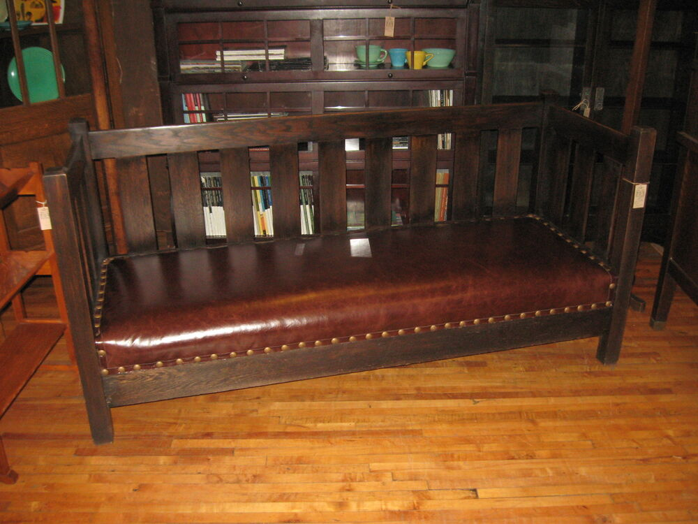 Arts Amp Crafts Dark Mission Oak Amp Leather Settle Sofa Couch