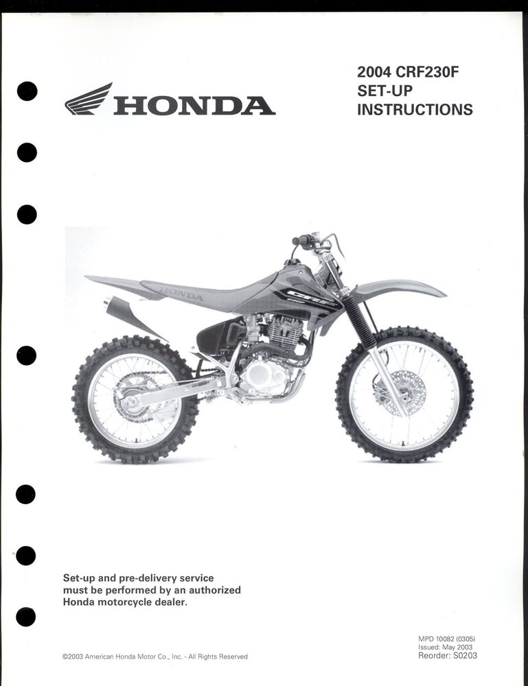 2004 honda crf230f motorcycle set up instruction manual
