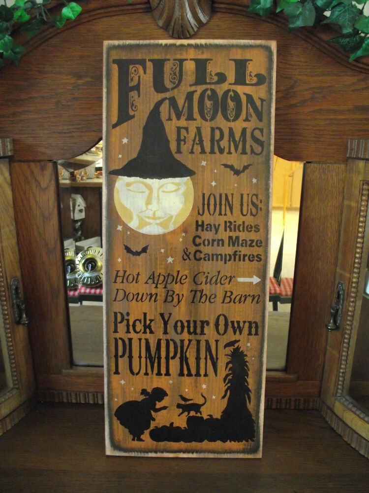 full moon farms wood sign halloween primitive