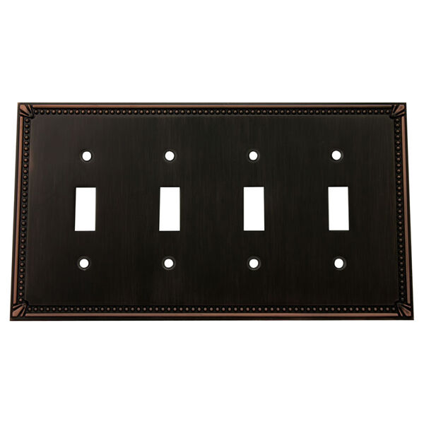Oil rubbed bronze quadruple toggle decorative wall switchplate cover 44036 orb ebay - Wall switch plates decorative ...