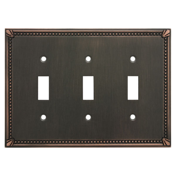 Oil rubbed bronze triple toggle decorative wall switchplate cover 44032 orb ebay - Wall switch plates decorative ...