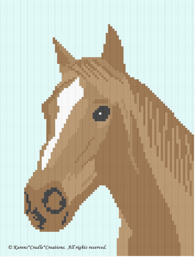 Afghan Crochet Pattern Graphs : Crochet Pattern/Patterns - HORSE Graph/Chart Afghan ...