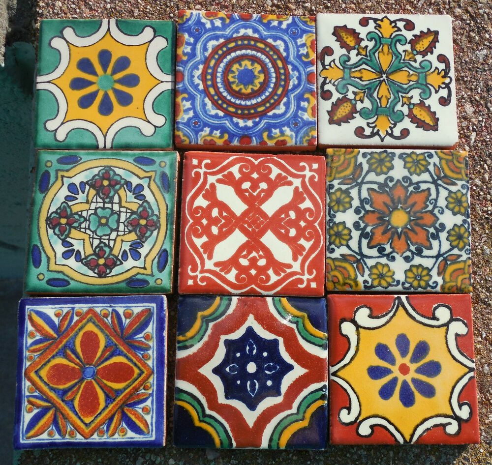 """Hand Painted Kitchen Tiles: 18~MEXICAN TALAVERA POTTERY 2"""" Tile Hand Painted Hand Made"""