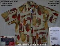NEW COOL HILO HATTIE KOA ROAD ALOHA HAWAIIAN SHIRT 100% COTTON NEW RELEASE XL