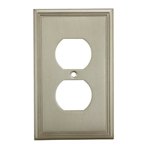 Electrical Wall Plates : Satin nickel single duplex wall plate plug electric outlet