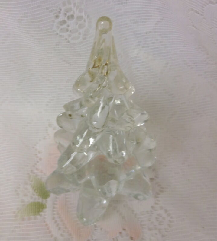 Vintage Clear Lead Crystal Solid Art Glass Christmas Tree ...