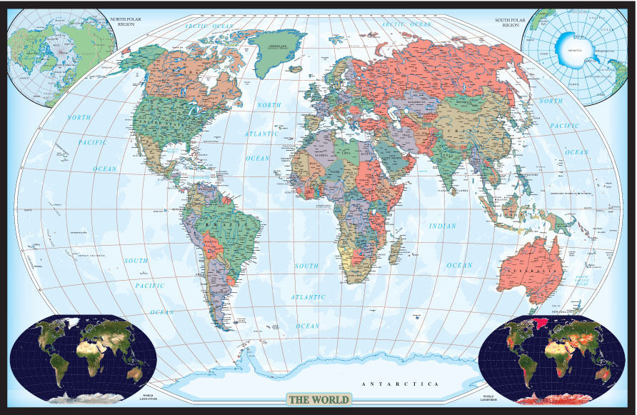 World wall map poster mural decorator edition by swiftmaps for Executive world map wall mural