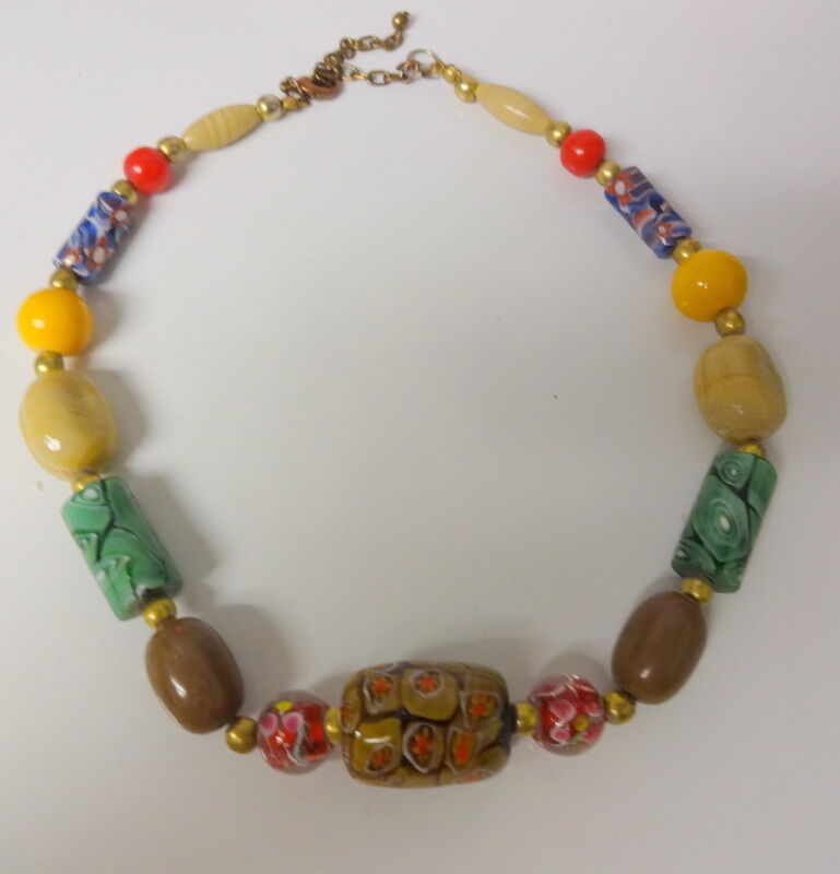Bead Glass African Beads: Old Venetian Stile Millefiori Tubular African Glass Trade