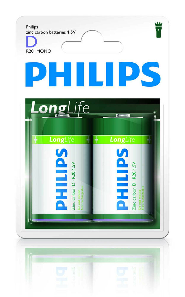 philips longlife batterien mono d 2er blister r20 ebay. Black Bedroom Furniture Sets. Home Design Ideas