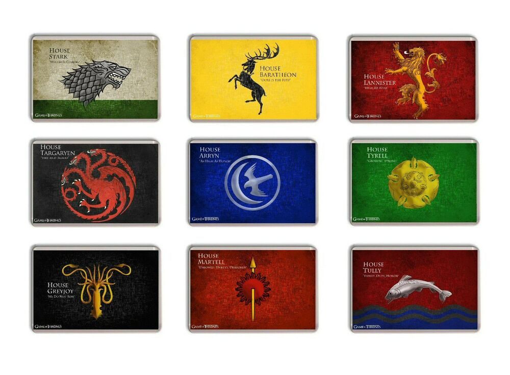 game of thrones great houses of westeros fridge magnet free postage ebay. Black Bedroom Furniture Sets. Home Design Ideas