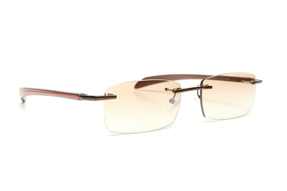 Rimless Gold Eyeglass Frames : GOLD AND WOOD RIMLESS EYEGLASSES GLASSES SUNGLASSES #81A ...