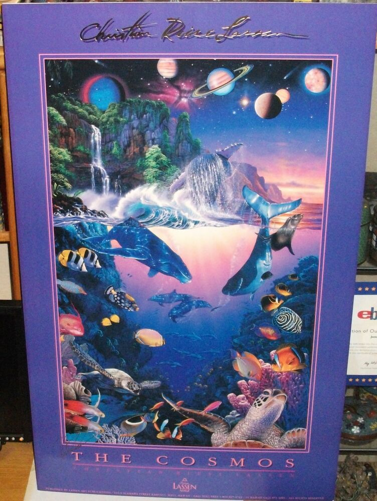 christian riese lassen the cosmos hand signed in gold ink huge poster ebay. Black Bedroom Furniture Sets. Home Design Ideas