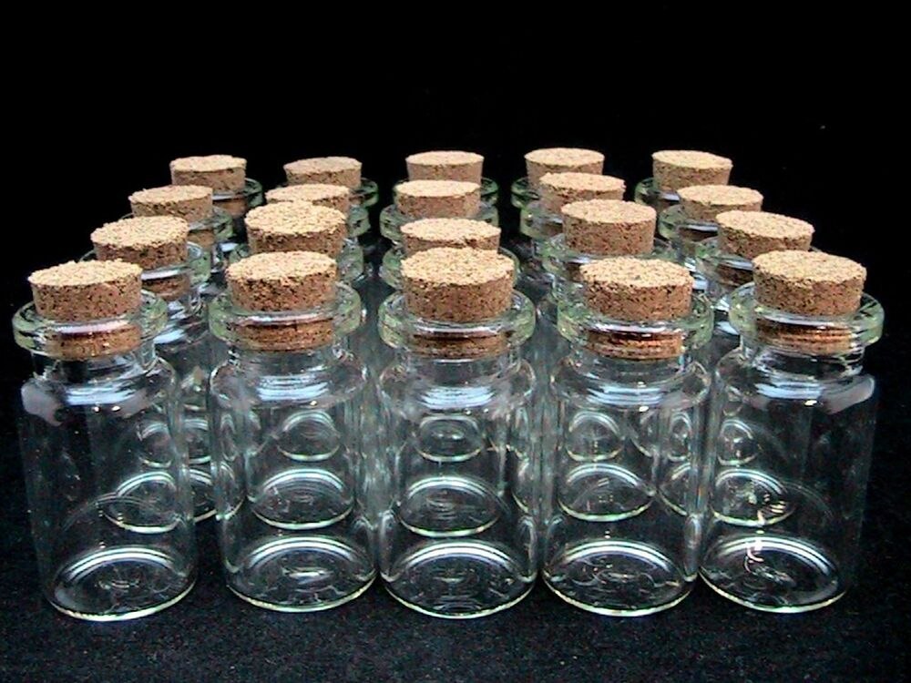 5 x miniature glass bottles vials cork stopper for Decorative vials