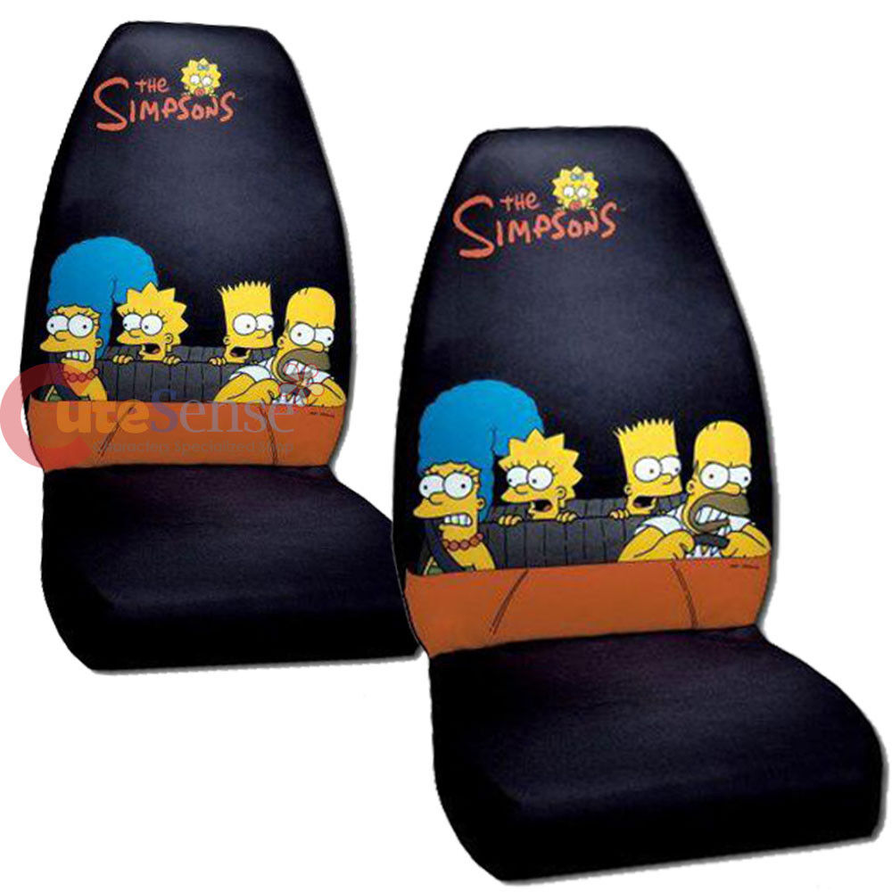 simpsons family front car seat cover 2pc set homer bart lisa auto accessories ebay. Black Bedroom Furniture Sets. Home Design Ideas